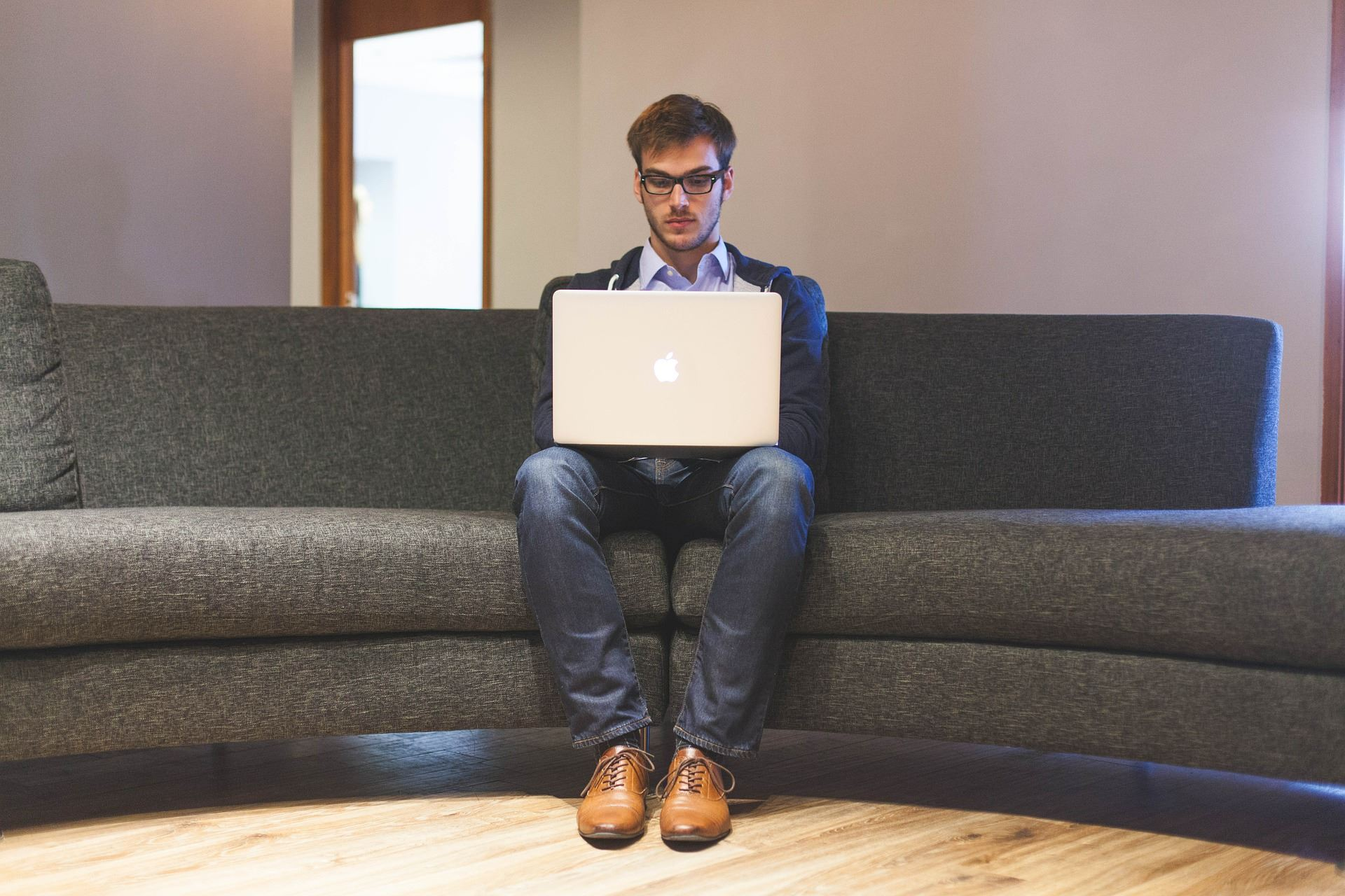 Entrepreneur sitting on couch