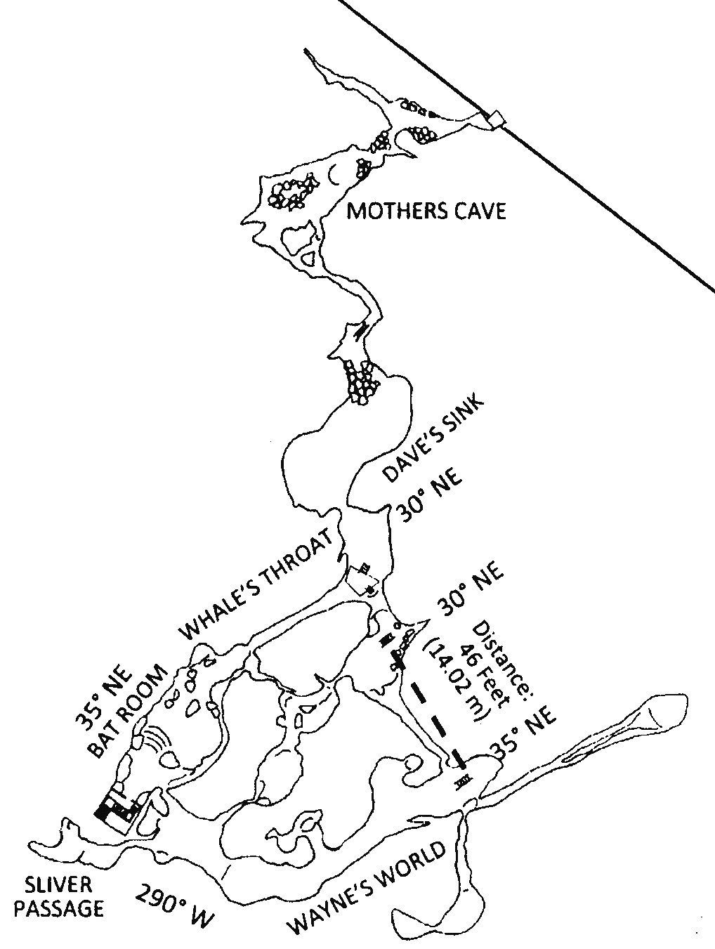 A map of Carolyn's Caverns at Ledge View Nature Center.