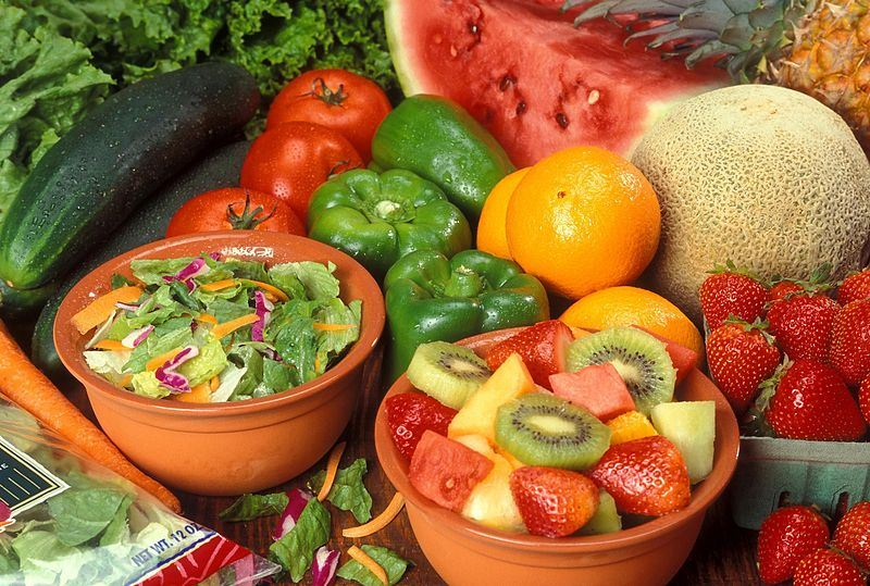 A group of fresh fruits and vegetable