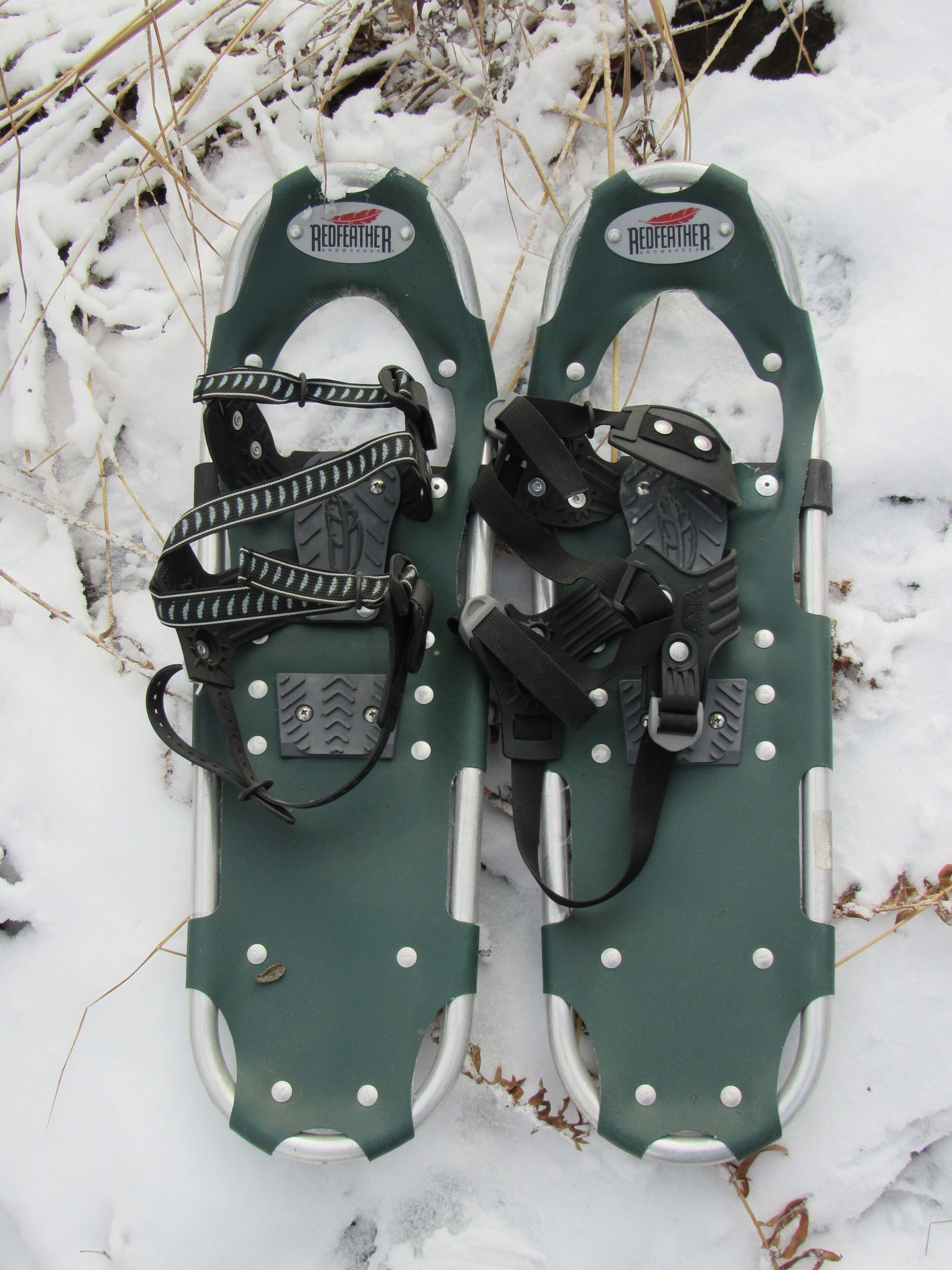 A pair of green modern snowshoes